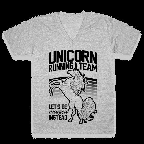 Unicorn Running Team V-Neck Tee Shirt