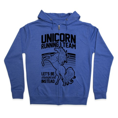Unicorn Running Team Zip Hoodie