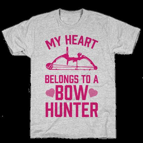 My Heart Belongs To A Bow Hunter Mens T-Shirt