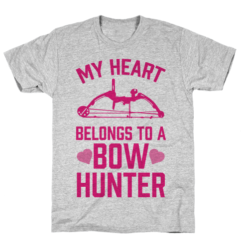 My Heart Belongs To A Bow Hunter Mens T-Shirt