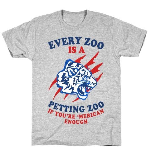 Every Zoo Is A Petting Zoo (Patriotic Baseball Tee) T-Shirt