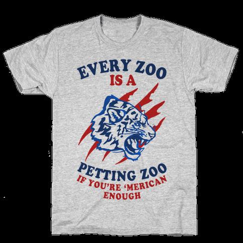 Every Zoo Is A Petting Zoo (Patriotic Baseball Tee) Mens T-Shirt
