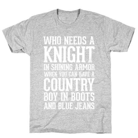 Country Boys in Boots and Blue Jeans Mens T-Shirt