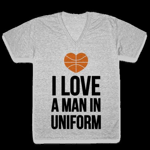 I Love a Man in Uniform (Basketball) V-Neck Tee Shirt