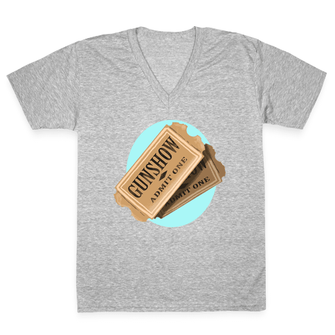 One Ticket to the gun show, please (Tank) V-Neck Tee Shirt