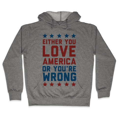 Either You Love America Or You're Wrong Hooded Sweatshirt
