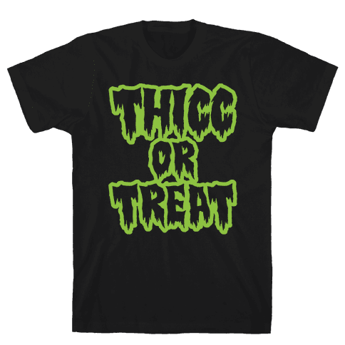Thicc Or Treat White Print Mens T-Shirt