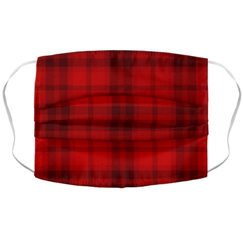 Red Plaid Accordion Face Mask
