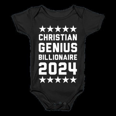Christian Genius Billionaire 2024 Baby Onesy