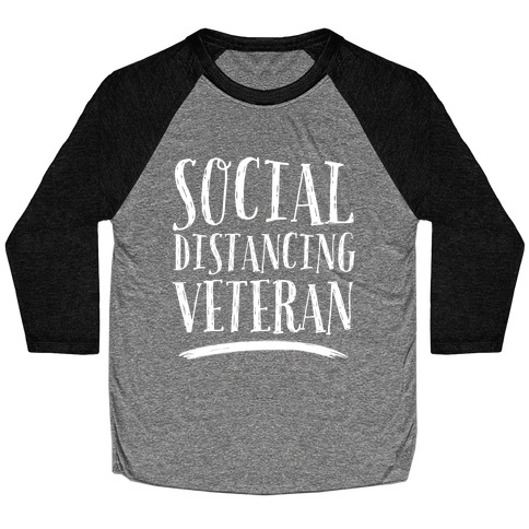 Social Distancing Veteran Baseball Tee