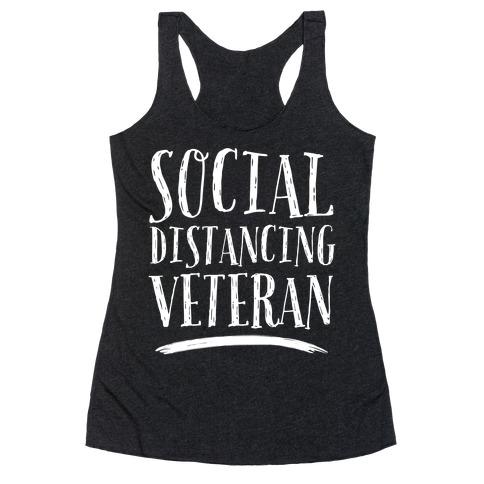 Social Distancing Veteran Racerback Tank Top