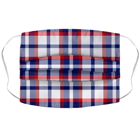 Red white and blue Plaid Face Mask Cover