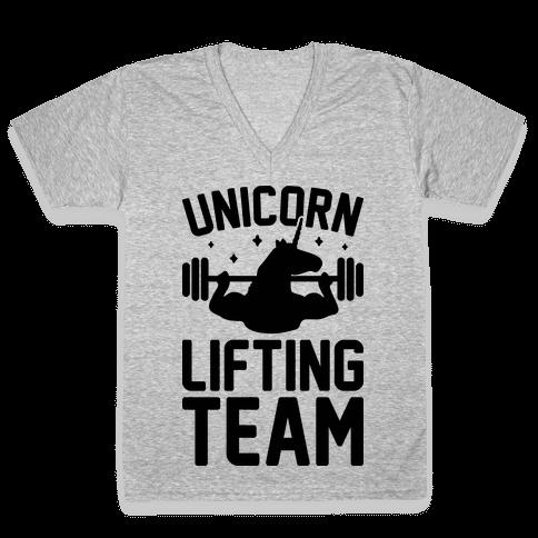Unicorn Lifting Team V-Neck Tee Shirt