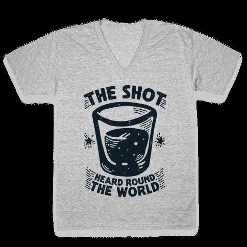 The Shot Heard Round The World V-Neck Tee Shirt