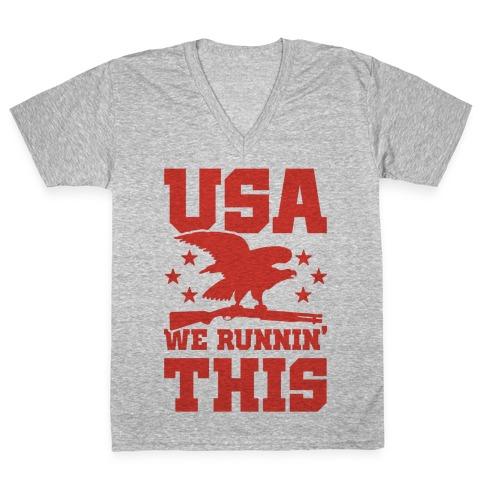 USA We Runnin' This V-Neck Tee Shirt