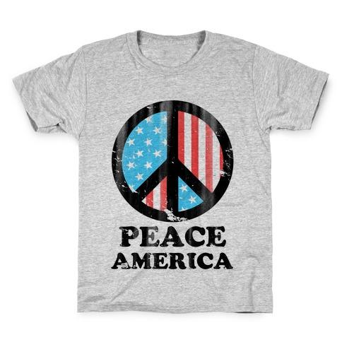 Peace America (Patriotic T-Shirt) Kids T-Shirt