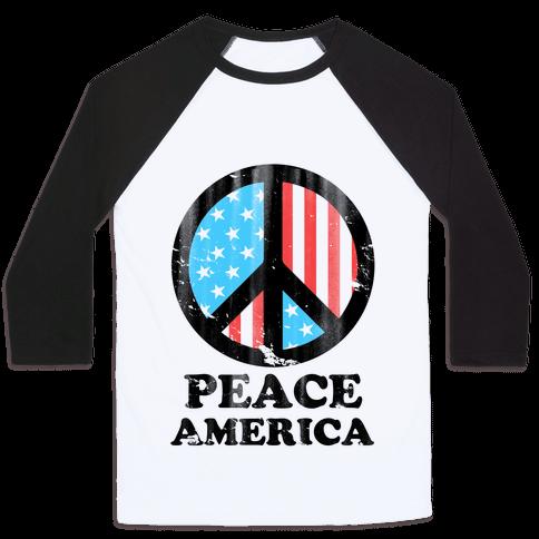 Peace America (Patriotic T-Shirt) Baseball Tee