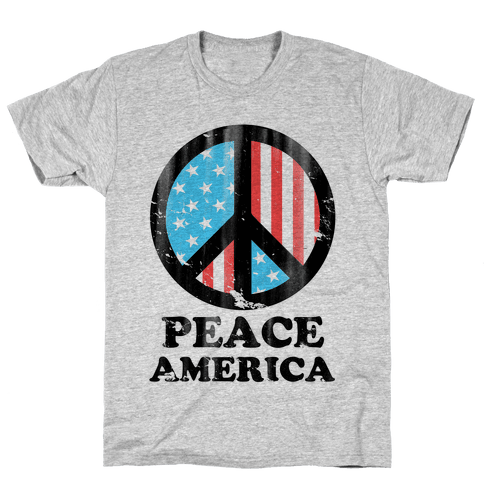 Peace America (Patriotic T-Shirt) Mens T-Shirt
