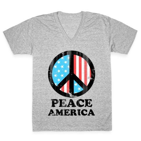 Peace America (Patriotic T-Shirt) V-Neck Tee Shirt