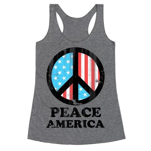 Peace America (Patriotic T-Shirt) Racerback Tank Top