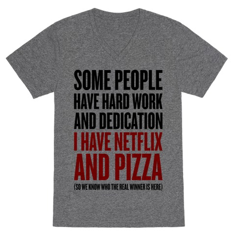 Netflix And Pizza V-Neck Tee Shirt