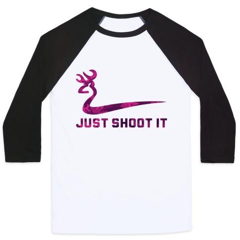 Just Shoot It Pink Baseball Tee