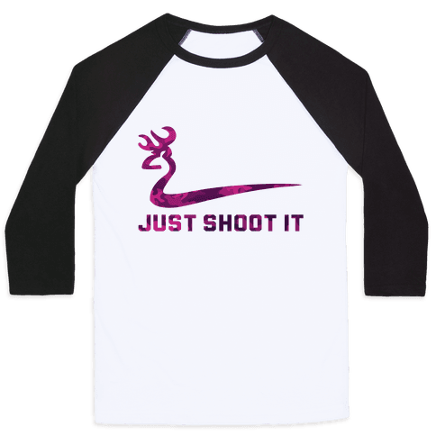 Just Shoot It Pink Baseball Tee