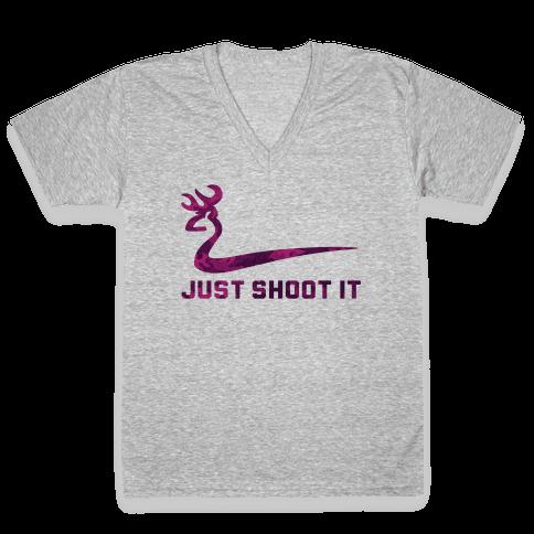 Just Shoot It Pink V-Neck Tee Shirt