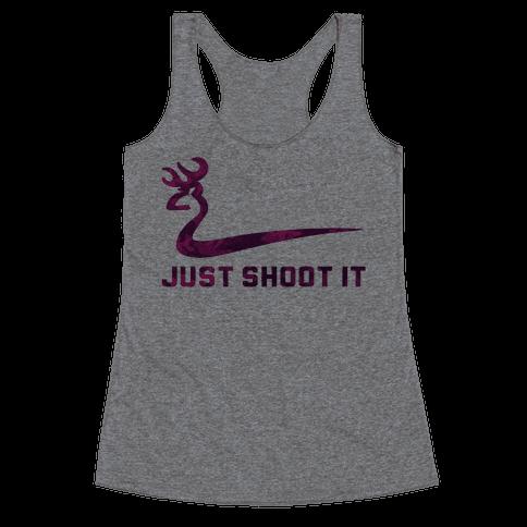 Just Shoot It Pink Racerback Tank Top