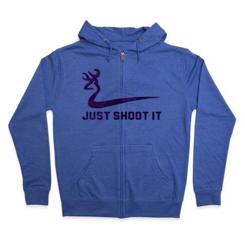 Just Shoot It Pink Zip Hoodie
