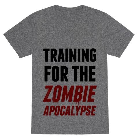 Training for the Zombie Apocalypse V-Neck Tee Shirt