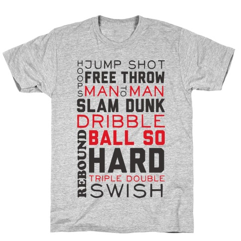Basketball Typographic (Red and Black) T-Shirt