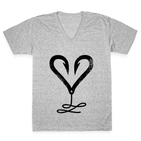 I Love Fishing V-Neck Tee Shirt