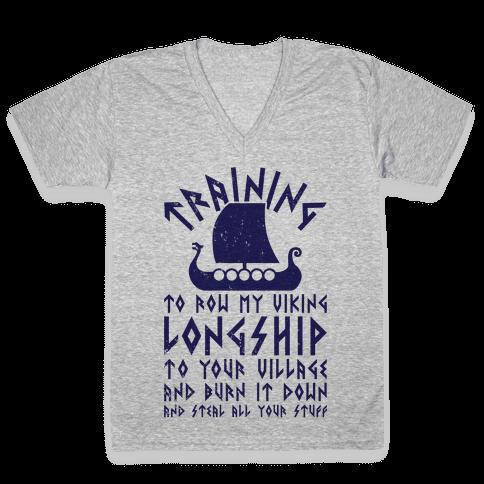 Training To Row My Viking Longship V-Neck Tee Shirt