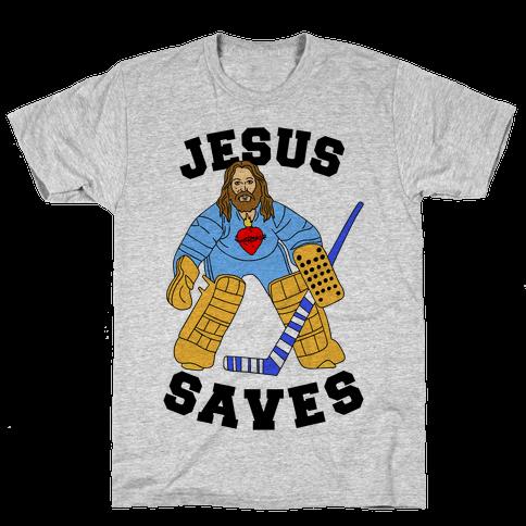 Jesus Saves (Hockey Edition) Mens T-Shirt