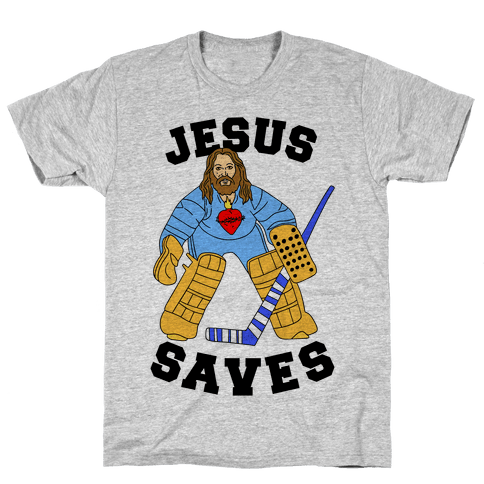 Jesus Saves (Hockey Edition) Mens/Unisex T-Shirt