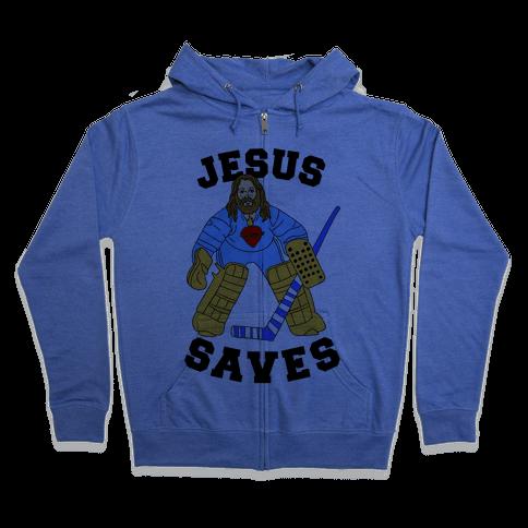 Jesus Saves (Hockey Edition) Zip Hoodie