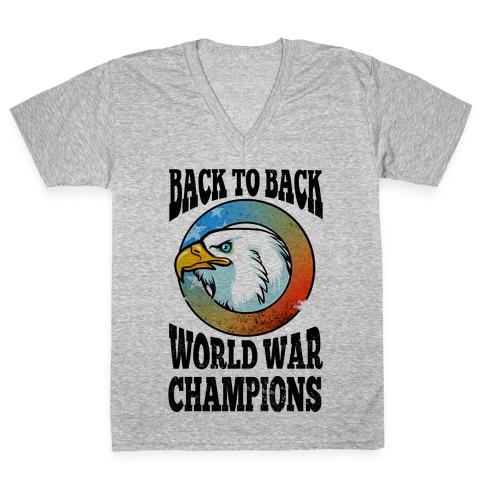 Back to Back World War Champions V-Neck Tee Shirt