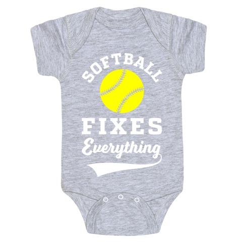 Softball Fixes Everything Baby Onesy