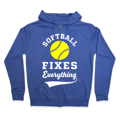Softball Fixes Everything Zip Hoodie