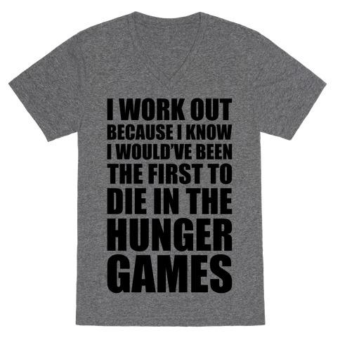 Hunger Games Workout V-Neck Tee Shirt