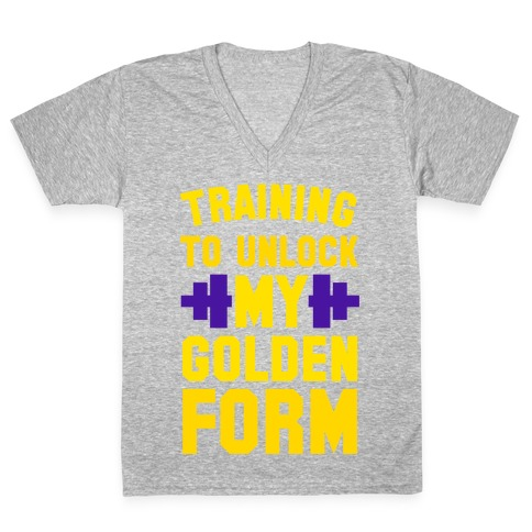 Training to Unlock My Golden Form V-Neck Tee Shirt