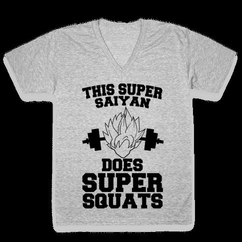 This Super Saiyan Does Super Squats V-Neck Tee Shirt