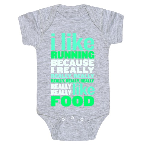 I Like Running (Food) Baby Onesy