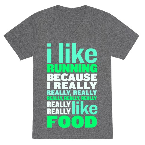 I Like Running (Food) V-Neck Tee Shirt