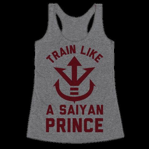 Train Like A Saiyan Prince Racerback Tank Top