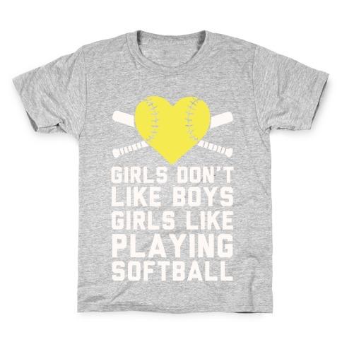 Girls Don't Like Boys Girls Like Playing Softball Kids T-Shirt