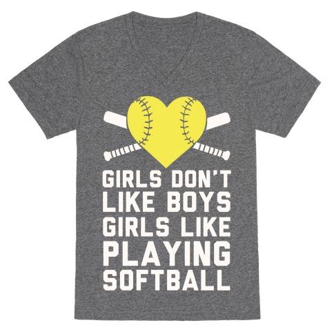 Girls Don't Like Boys Girls Like Playing Softball V-Neck Tee Shirt