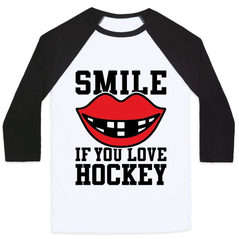Smile If You Love Hockey Baseball Tee