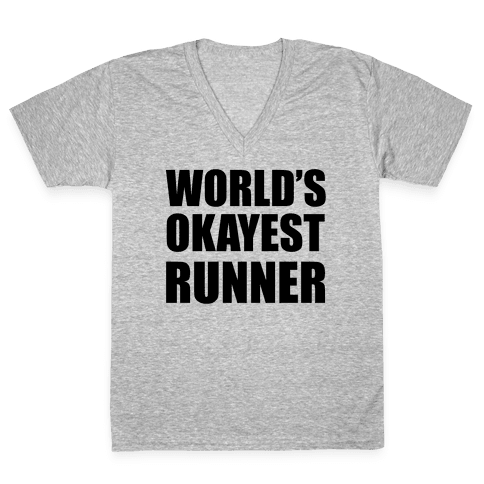 World's Okayest Runner V-Neck Tee Shirt